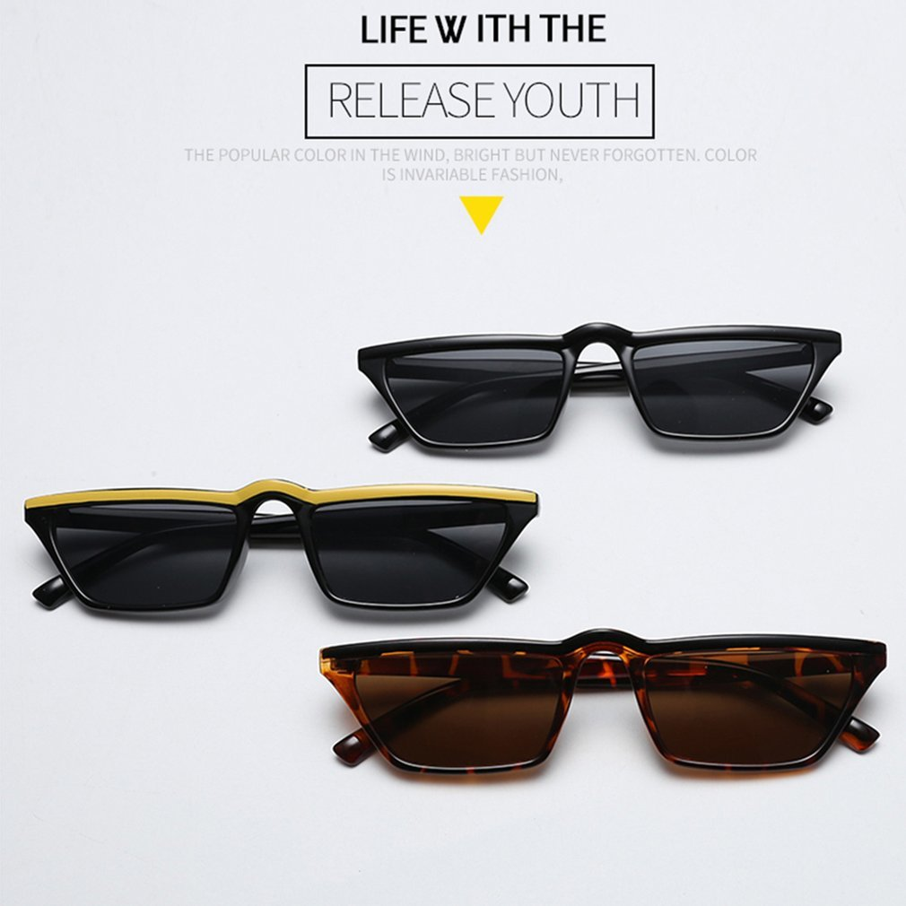 Cat Eye Sunglasses Small Rectangle Frame Sexy Women PC Lens Vintage Style Ultraviolet-proof Sun Glasses for Female