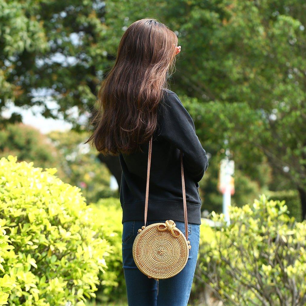 Woven Handbag Bowknot Round Handmade Rattan Straw Woven Crossbody Bohemia Style Holiday Beach Tote Circle Bag