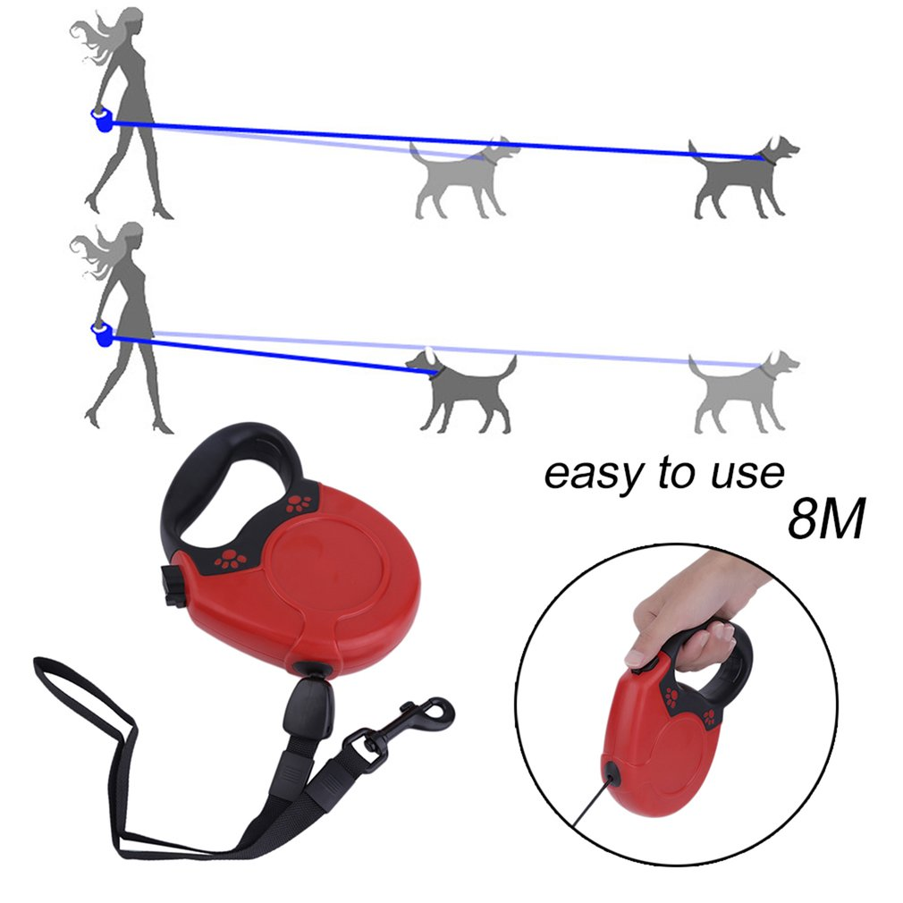 pugga 8M Dog Leash Automatic Extending Pet Walking Leads Puppy Traction