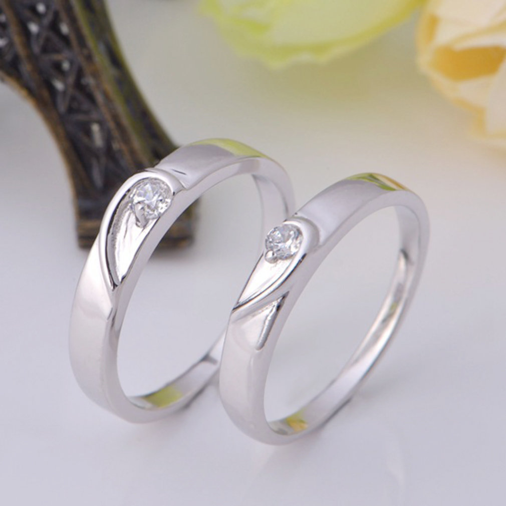 2pcs Fashion 18k White Gold Plated Endless Love Couple Style Band Ring J207