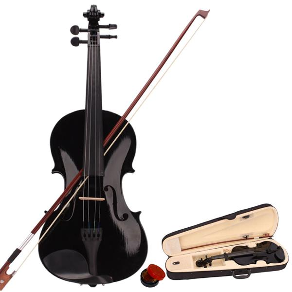 New 4/4 Acoustic Violin Case Bow Rosin Black