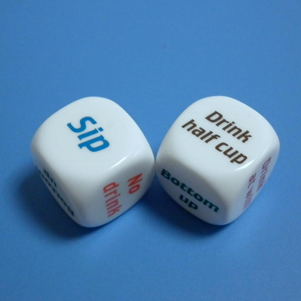 2 Pcs 25mm Super White Funny English Letter Drink Decider Dice Round Corner