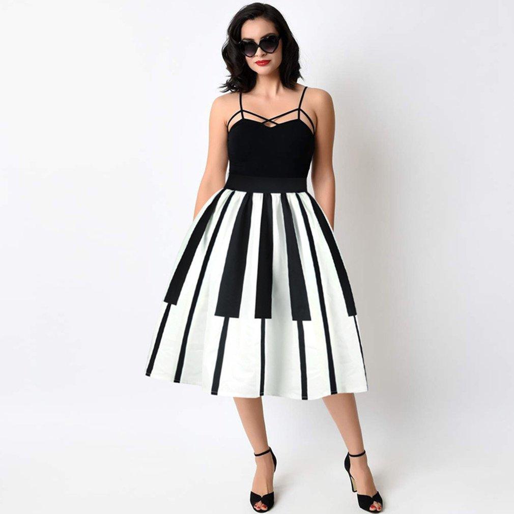 Summer Women Skirt Piano Keys Printing Ball Gown High Waist Expansion Skirt