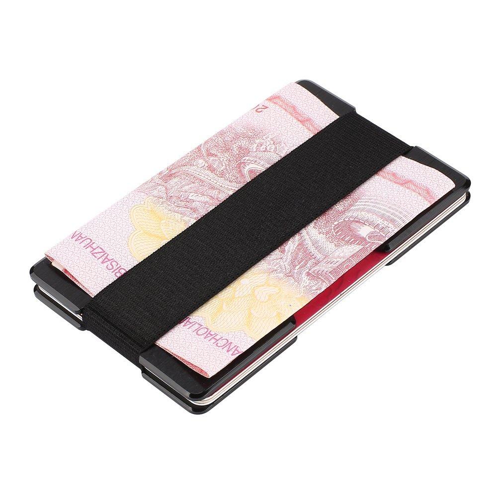 Portable Metal Slim Anti-Scanning Front Pocket RFID Wallet Black Thin Blocking Credit Card Holder Money Cash Clip