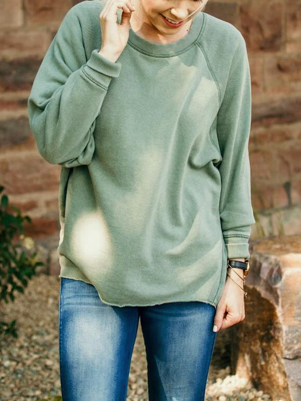 Solid Long Sleeve Crew Neck Shirts & Tops