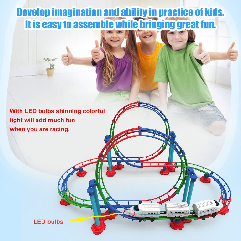 Children Roller Coaster Track Toy DIY Assemble 3D Electric Train Railcar With Light Cartoon Track Funny Educational Toy