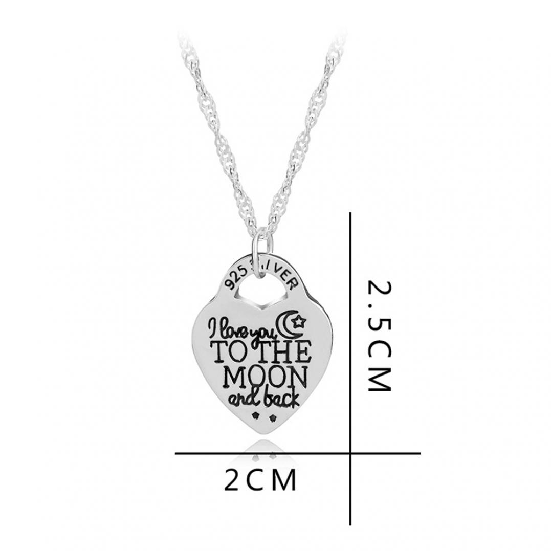 """I Love You to The Moon and Back"" Letters Carved Heart Pendant Necklace"