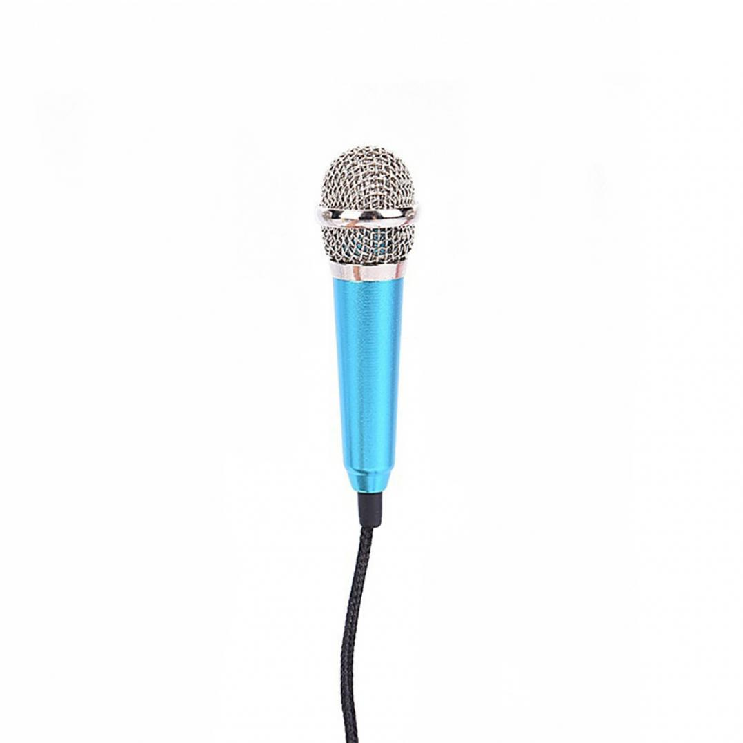 3.5mm Universal Wire Connect Karaoke Metallic Mini Microphone for Cell Phone PC