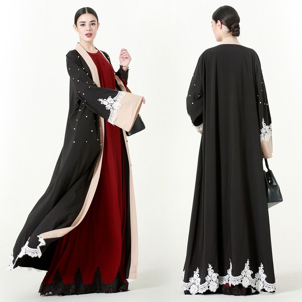 Elegant Women Full Length Loose Lace Splicing Patchwork Muslim Abaya Muslem Caftans Long Robes Arabic Dubai Dress