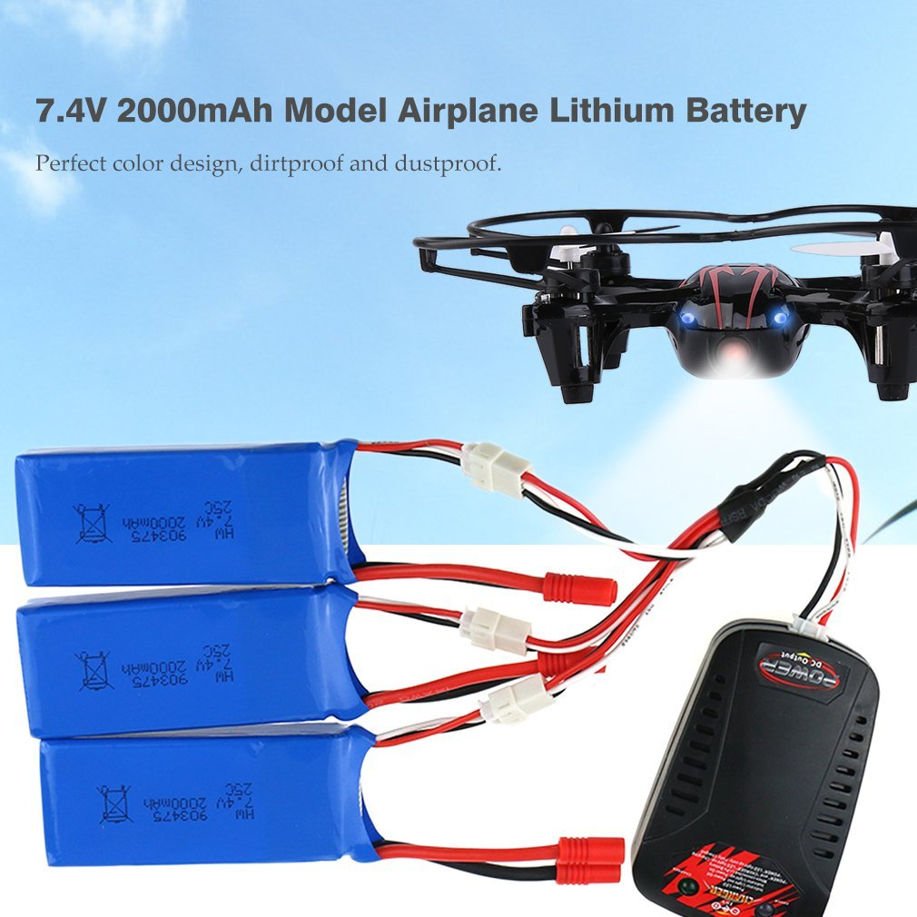 7.4V 2Ah Model Airplane Lithium Battery Backup Battery For Syma X8C X8W X8G
