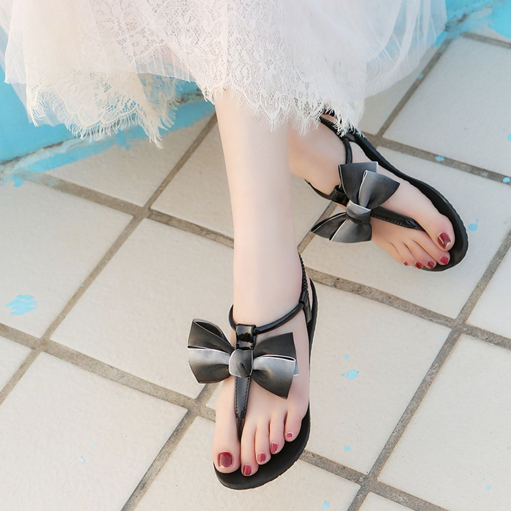 Fashion Summer Women Sandals Shoes Flip Flops Shoes Flat Heel Beach Sandals Ladies Comfortable Casual Shoes with Bowtie