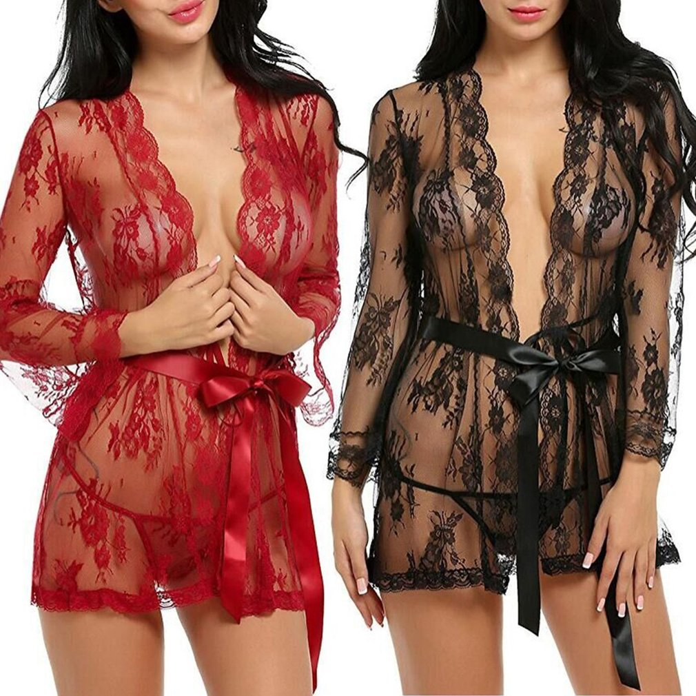 Sexy See-through Women Lace Sleepwear Long Sleeve Sexy Lingerie Breathable Women Nightwear With T-back Seductive Nightdress