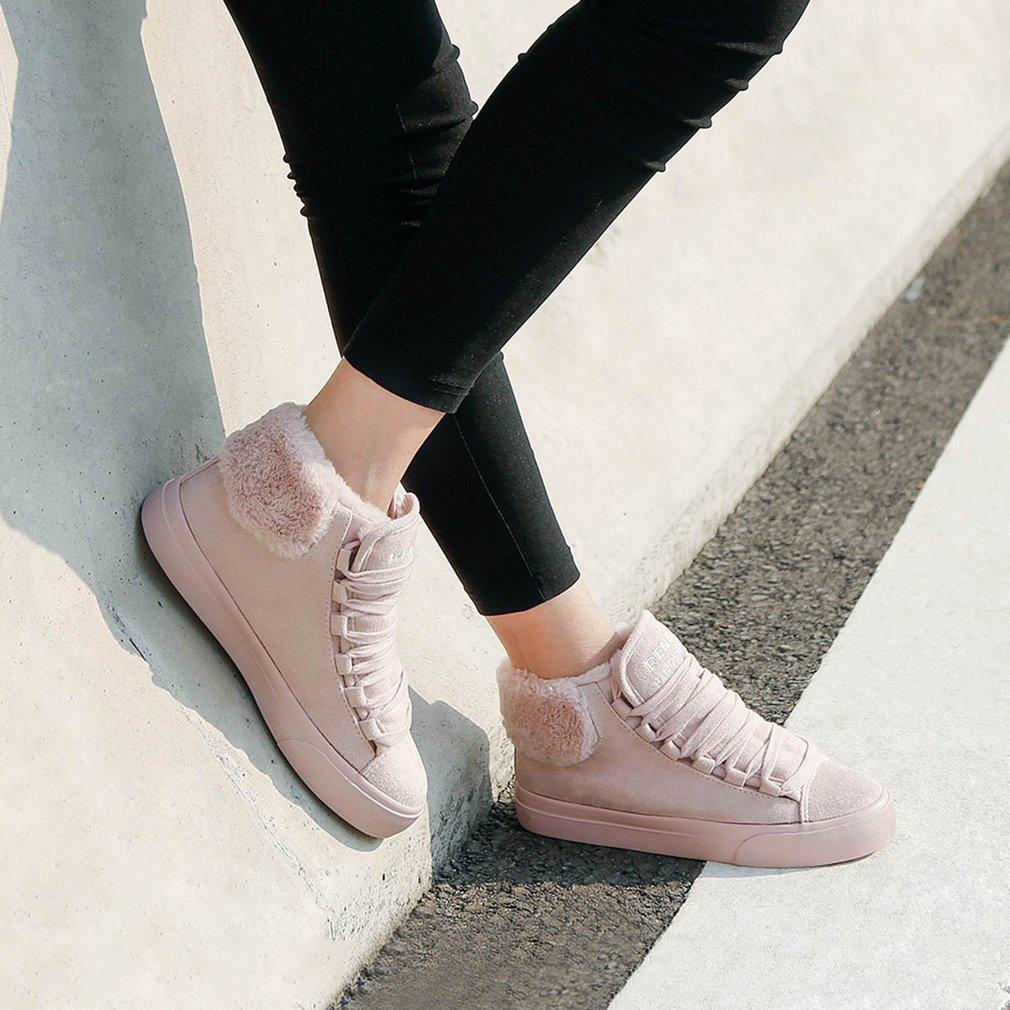 Renben Winter Short Suede Boots Female Thicken Cotton Flat Shoes Plus Velvet