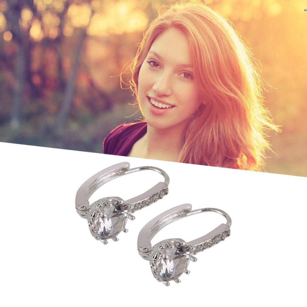 Elegant A Pair Of Women Lady Ziron Earrings Wedding Party Ear Studs For Women