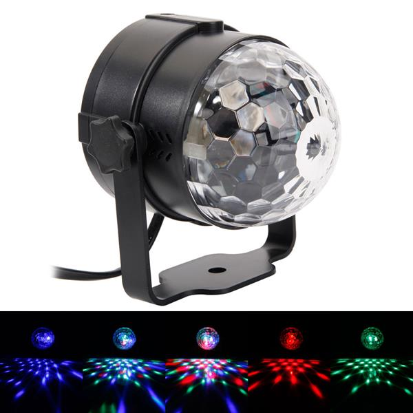 ALIGHT 3W RGB LED Remote Control / Sound Control / Auto Mini Rotating Ball Stage Bar Party Lighting