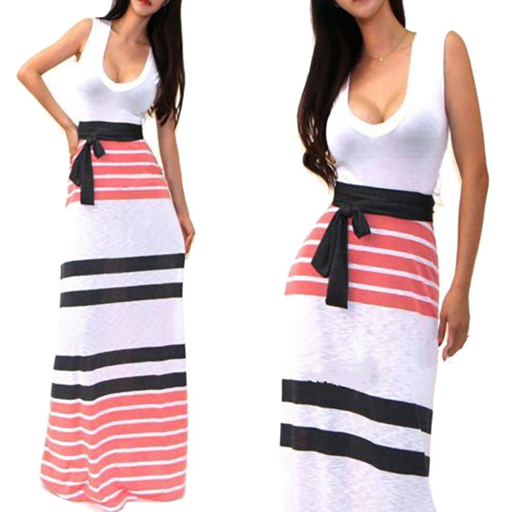 Womens Formal 3/4 Sleeve V-neck Bandage Printed Long Dress Stripe Maxi Dress