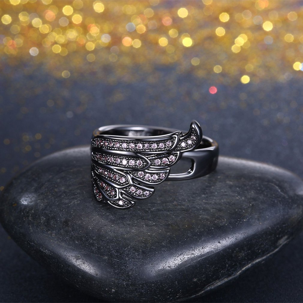Classic Design Angel Wing Design Women Ring Zircon Decoration Lady Finger Ring