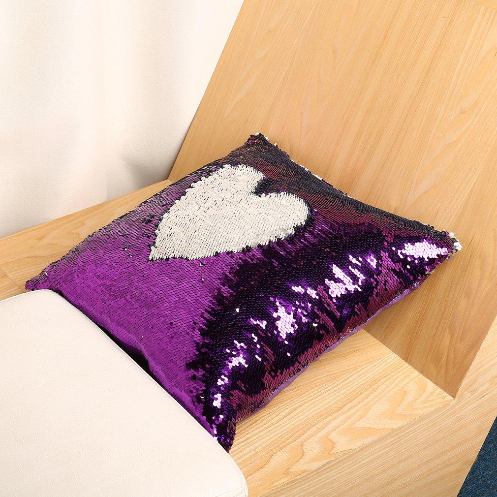 Reversible Sequin Mermaid Throw Pillow Cover Car Sofa Cushion Cover Pillowcase
