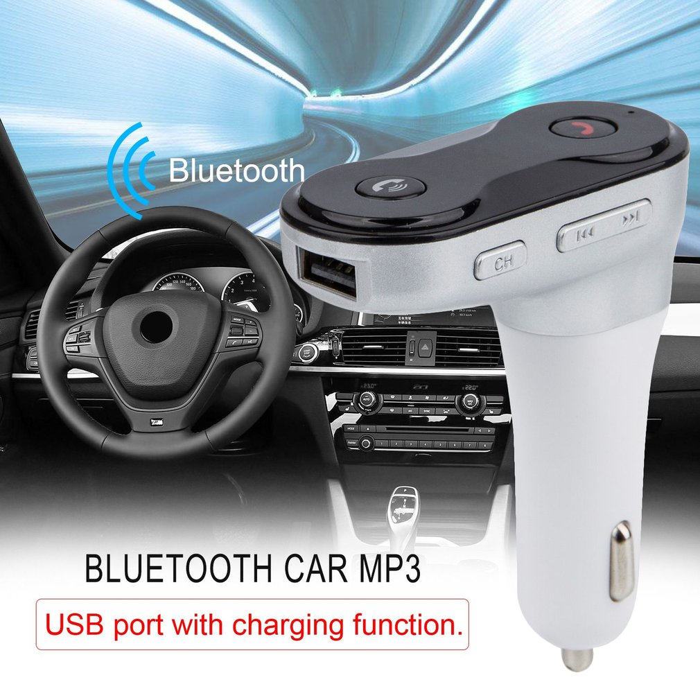 Car Bluetooth Mp3 Player Handsfree TF Card FM USB Charger Cigarette Lighter