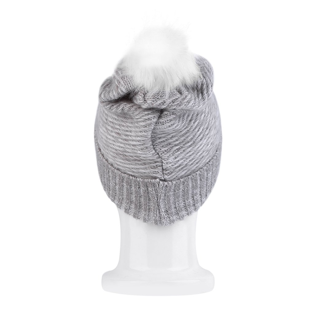 Korean Style Warm Winter Women Crochet Gray Hat Knit Ski Cap Knitted Hat New