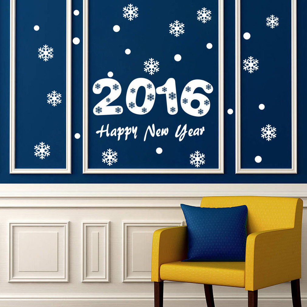 2016 Snow Christmas Happy New Year Window Wall Sticker Decals Snowflake