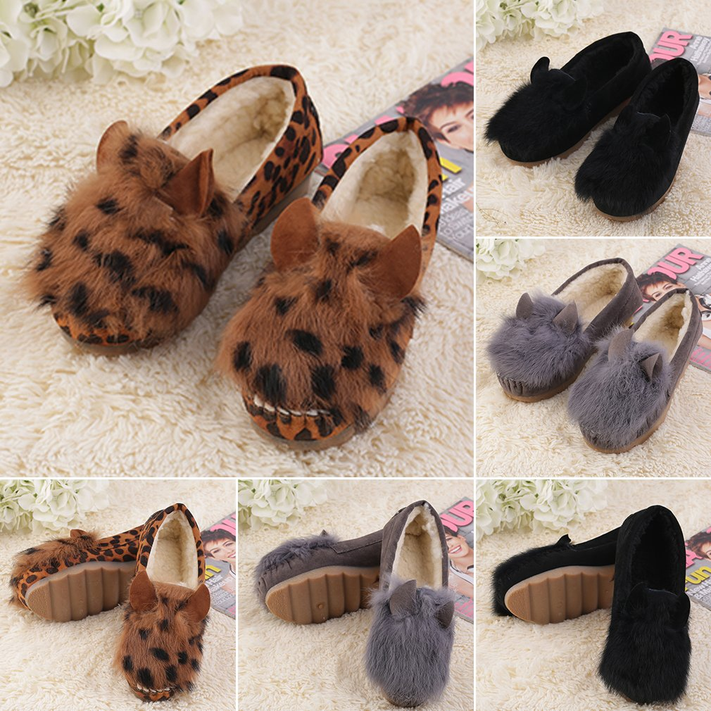 Fashion Cute Rabbit Ears Women Winter Warm Flat Heel Fur Casual Shoes New