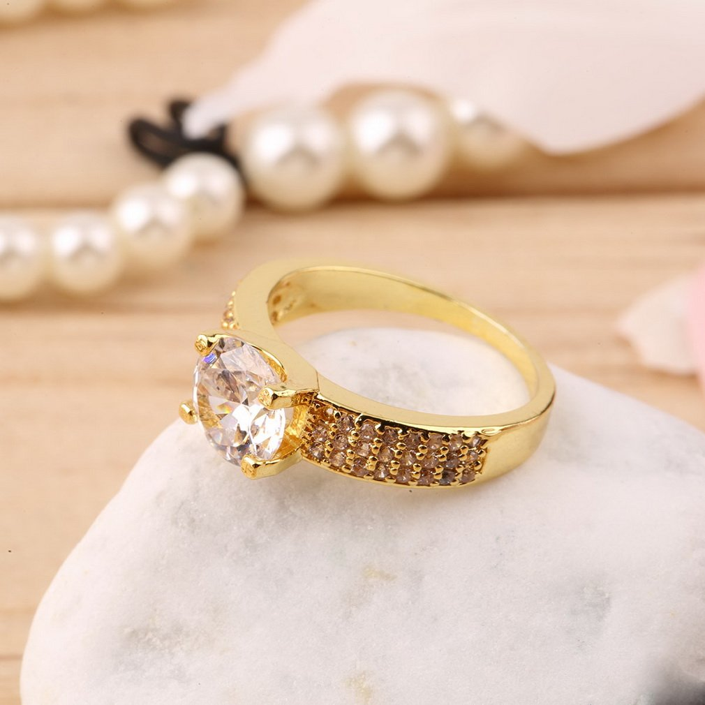 Fashion Elegant Women Girls Zircon Crystal Rhinestone Ring Jewelry