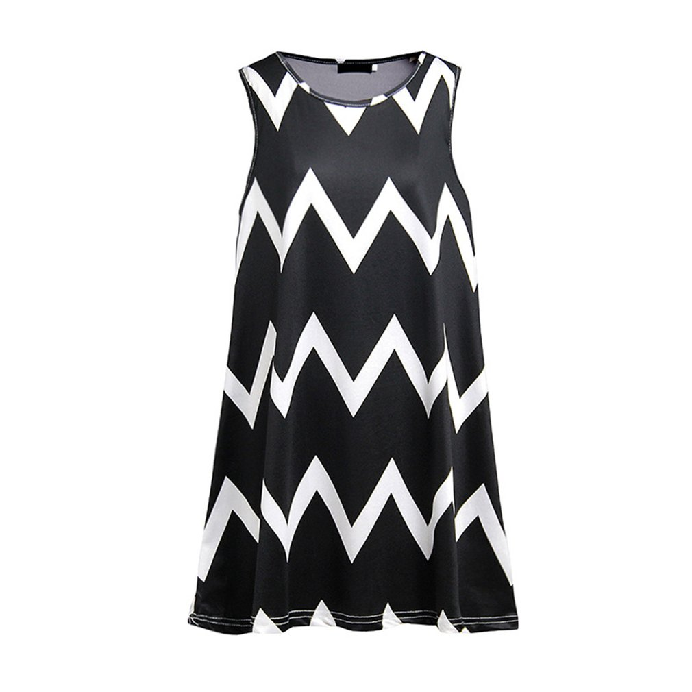 Trendy Female Dress Sleeveless Round Collar Vest Dress Wave Pattern Fashion Loose A-line Dress Casual Summer Dress
