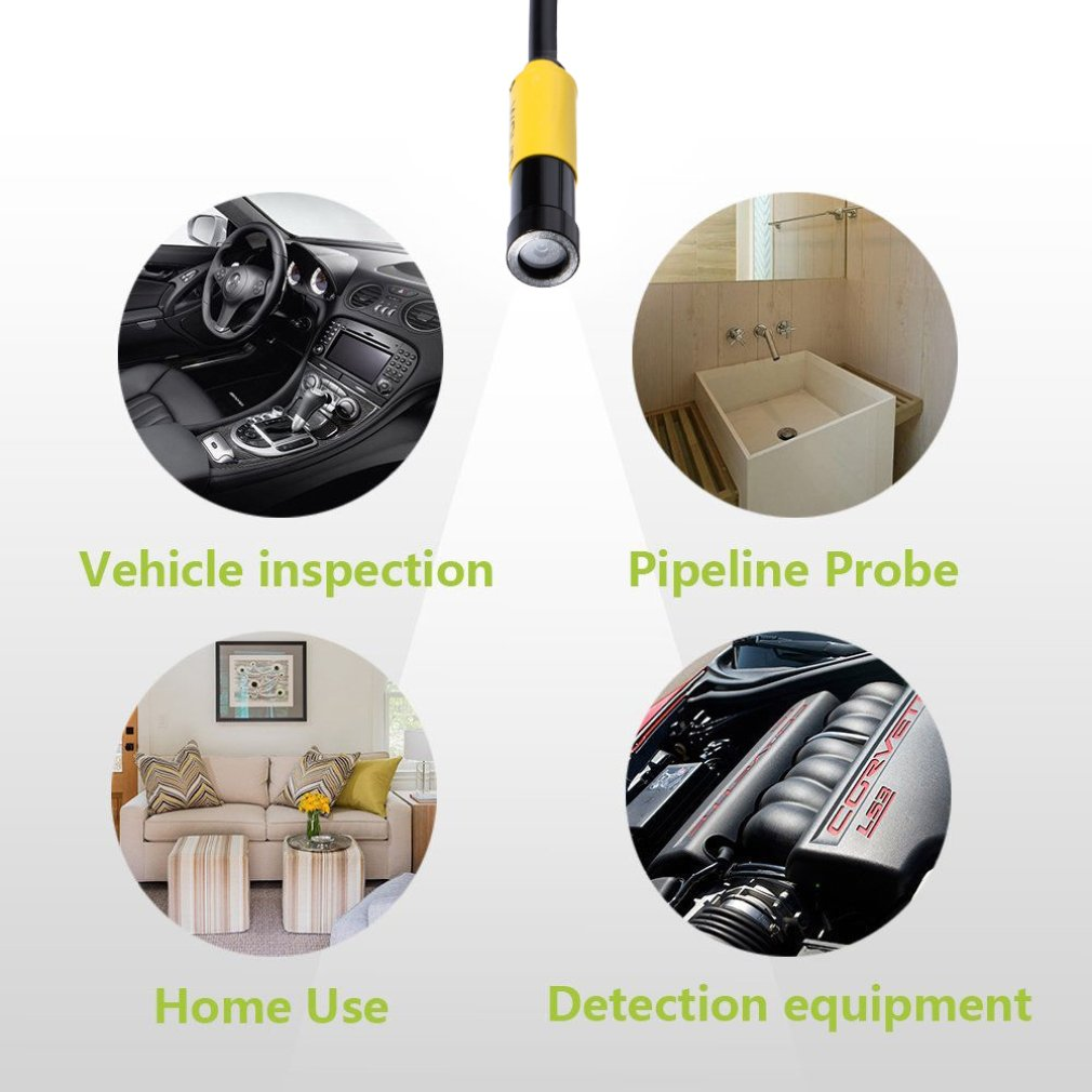 AV Waterproof Endoscope 10mm Hard Cable Camera Insepction Borescope Hard Line