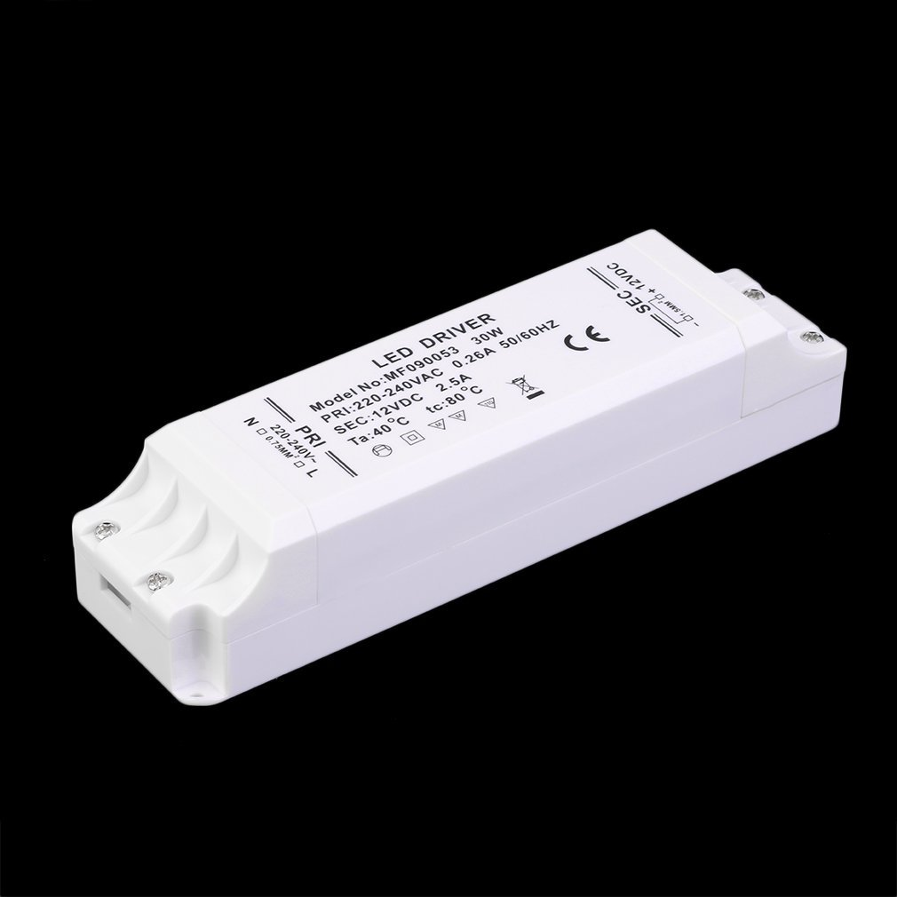 12V DC LED Supply Driver Transformer 30W for LED Lighting Strip Lights