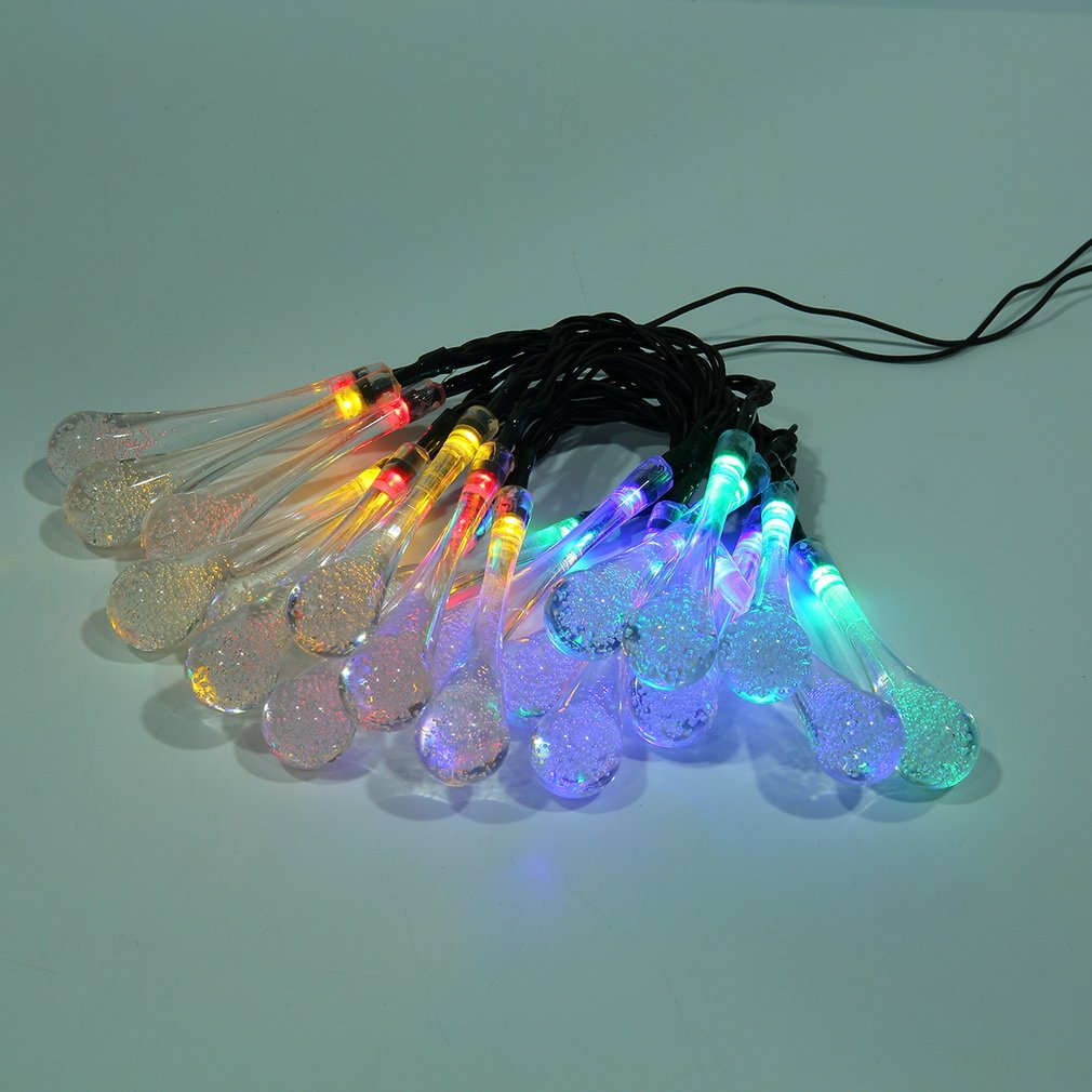 Solar Powered 20LED String Light Water Drop Christmas Tree Landscape Lamp