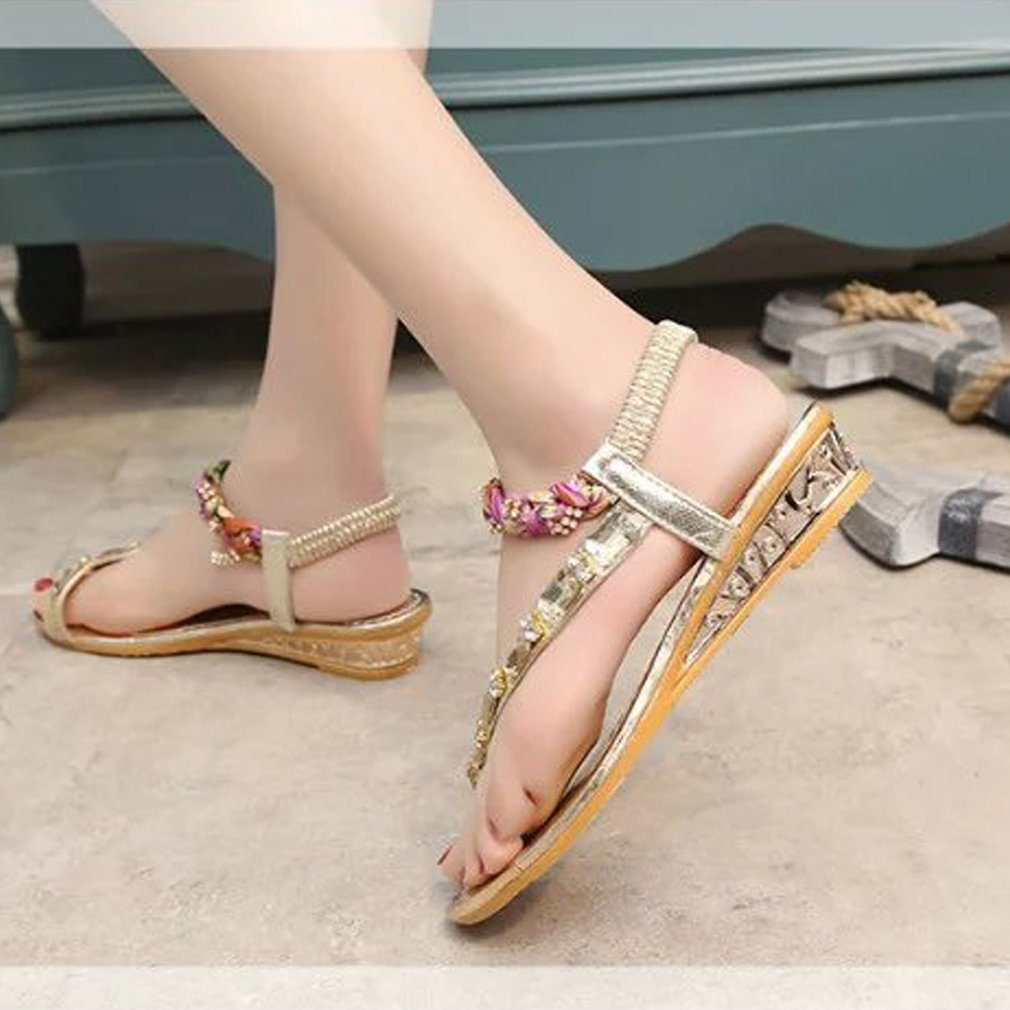 Fashion Rhinestone Lady Summer Sandals Floral Bandage Shoes Slipsole Braided Sandals Comfortable Anti-slip Rubber Sole Shoes