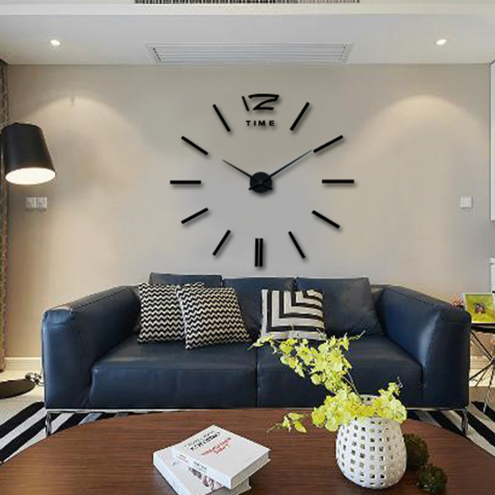 Living Room Large Art Design 3D DIY Hanging Wall Clock Modern Decoration