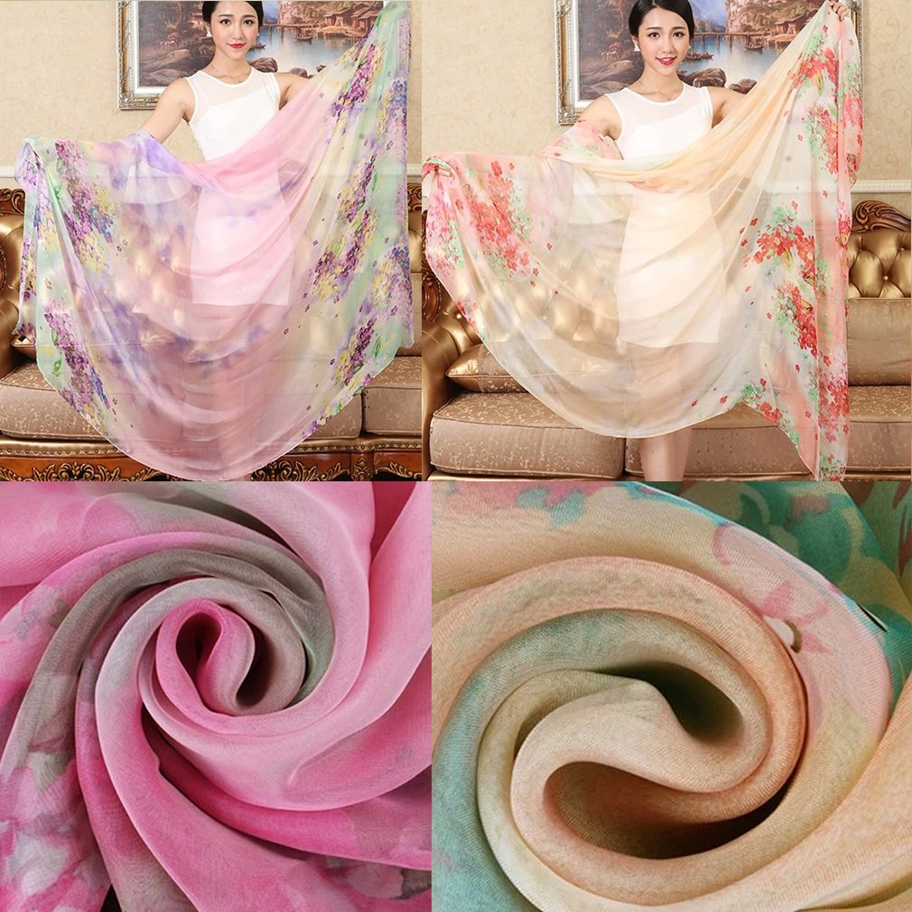 Summer Cool Chiffon Thin Silk Scarf Shawls Long Beach Sunscreen Scarves