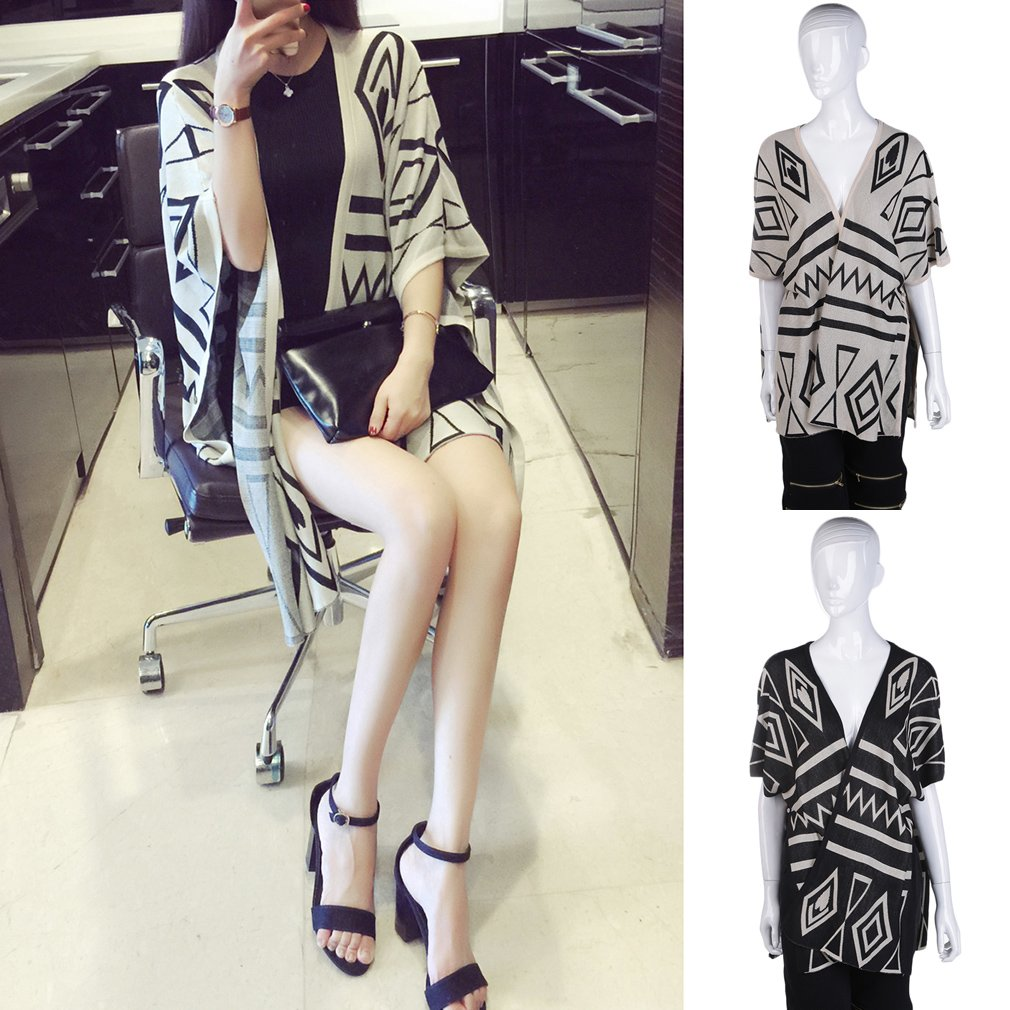 Women Batwing Sleeves Crochet Knitted Button Cardigan Blouse Sweater Coat