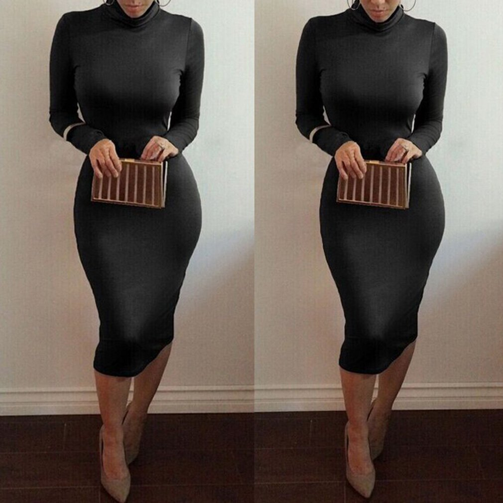 New Fashion Women Sexy Slim Bodycon Long Sleeve Party Evening Pencil Dress