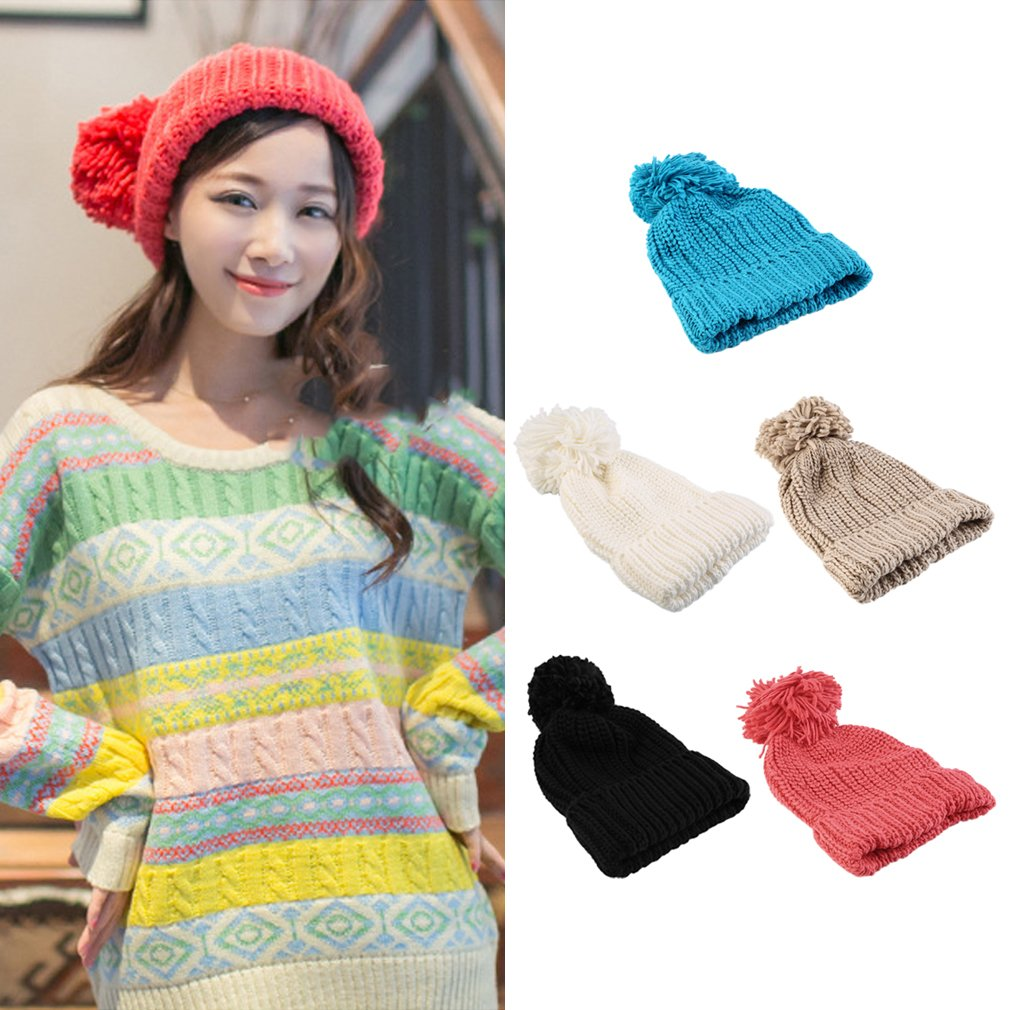 Hot Winter Warm Women Oversized Braided Knit Crochet Baggy Hat Ski Cap Gift