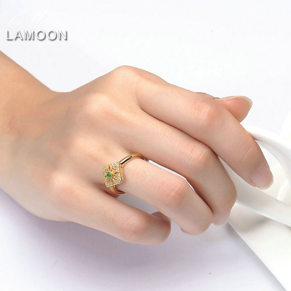 LAMOON RI032 Round Cut Green Emerald Ring Women 925 Sterling Silver Jewelry