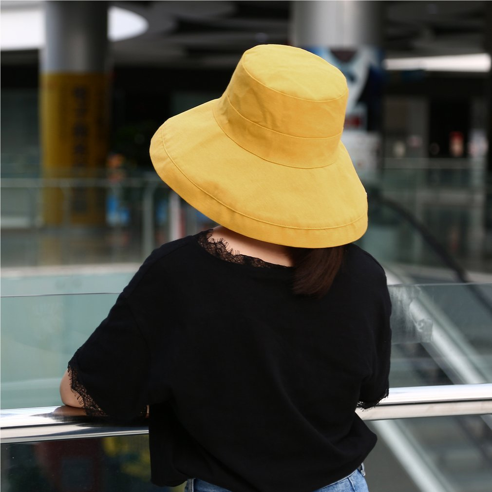 Japanese Style Sun Hat Foldable Wide Brimmed Women Sun Visor Summer Beach Fisherman Hat Casual Solid Color Adults Cap