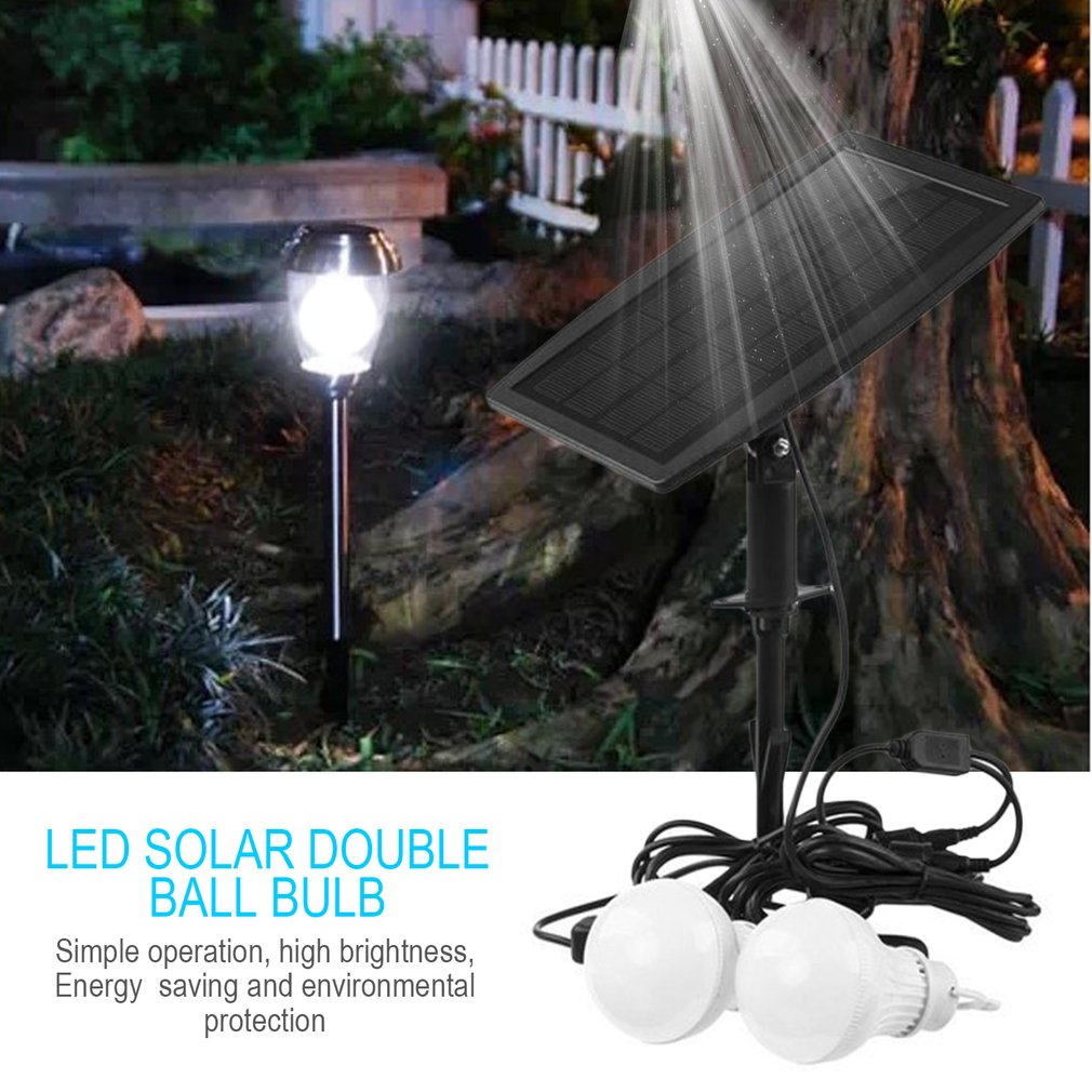 10LED Bulb Light Solar Powered Double Bulbs Light Home Outdoor Emergency Light
