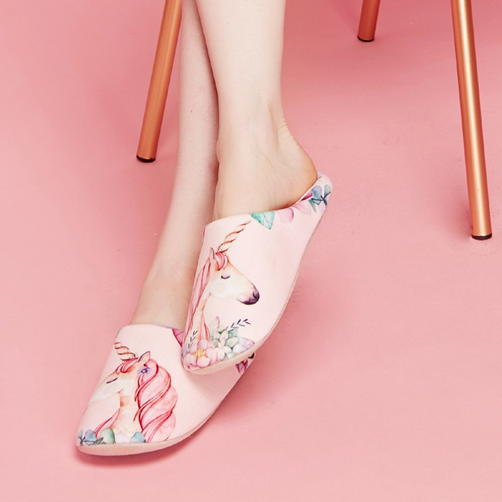 Spring Autumn Lovers Unisex Soft and Comfortable Unique Cartoon Printing Slippers Half Covered Indoor Home Shoes
