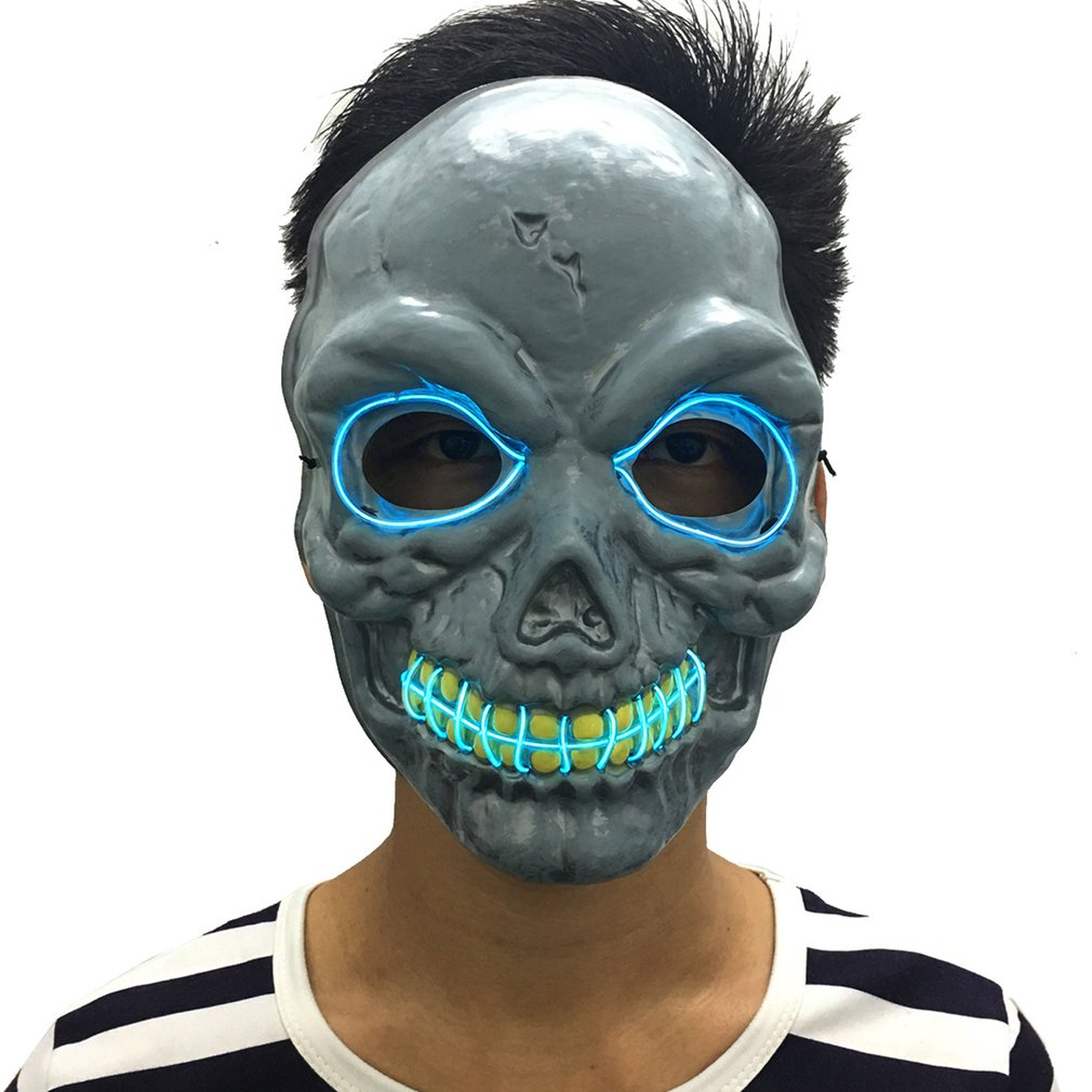 Mask With EL Cool Light Scary Skull Skeleton Mask For Party Dance Halloween