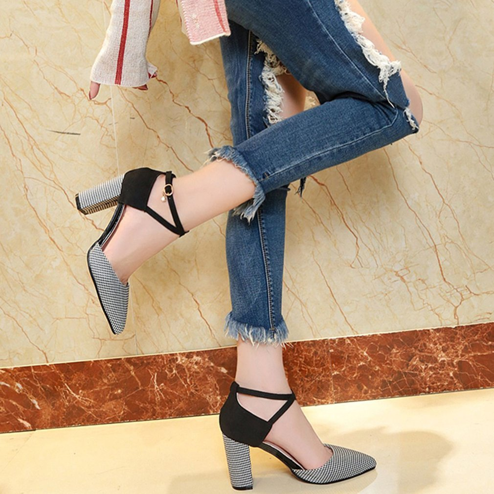 Fashion Plaid High Heel Shoes Pointed Toe Chunky Heeled Shoes Elegant OL Style Woman Shoes All-match For Spring Summer