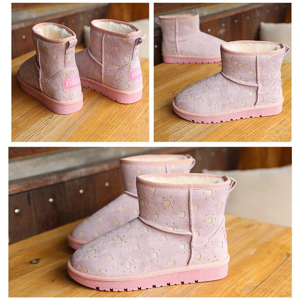 Renben Women Winter Snow Boots Artificial Plush Warm Flat Mid Calf Boots