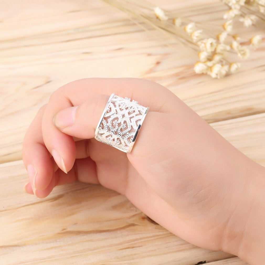 1pc New Fashion Crystal Heart Wide Style Ring Hollow Heart Ring Jewelry