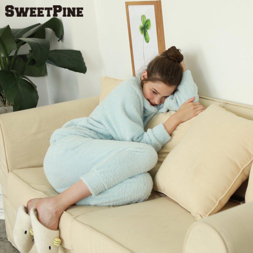 SWEETPINE Women Pyjamas Set Warm Soft Caroset Flannel Suit Sleepwear Nightgown