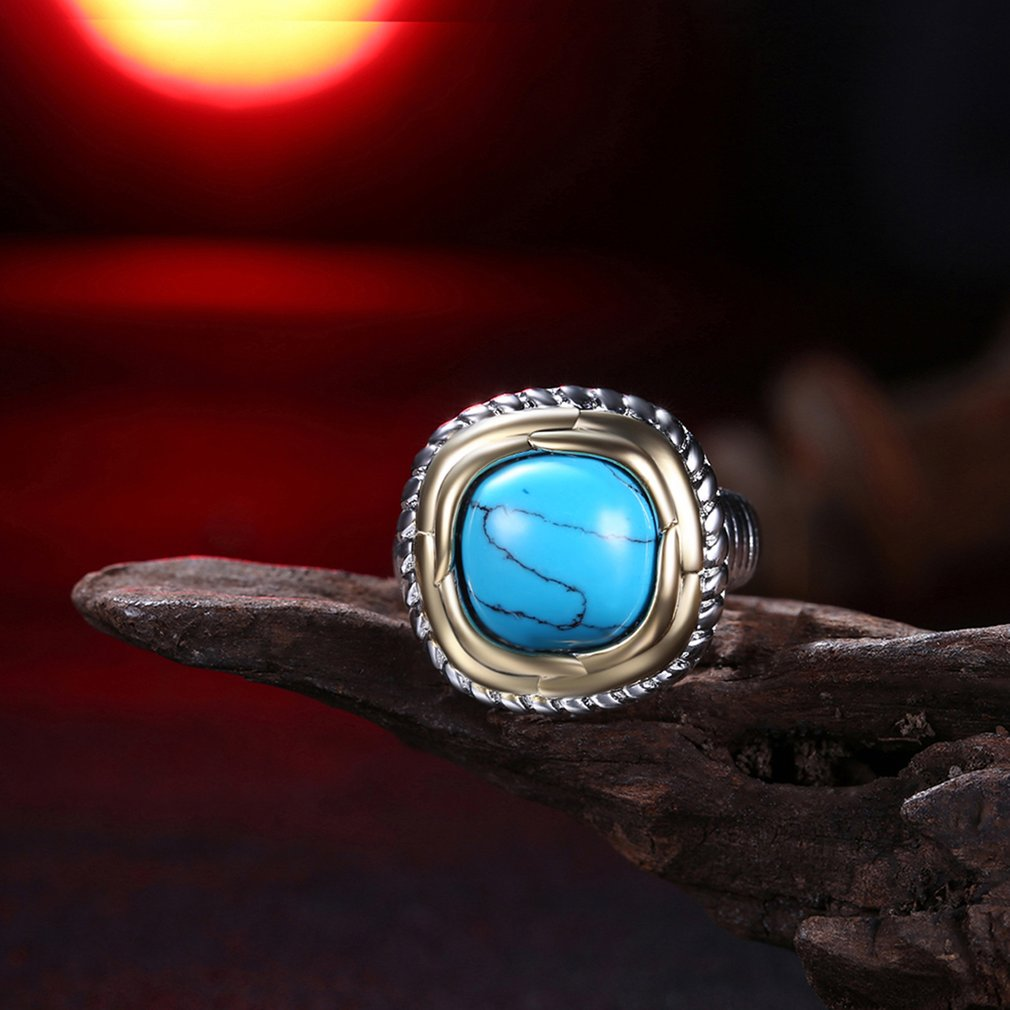Turquoises Ring High Grade Finger Rings Fashion Novel Square Ring Jewelry