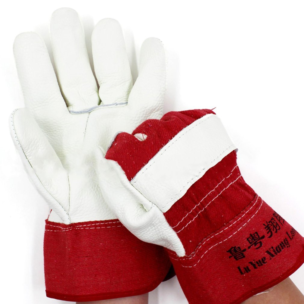 1 Pair Cowhide Working Gloves Anti-Abrasion Electric Welding Soldering Gloves