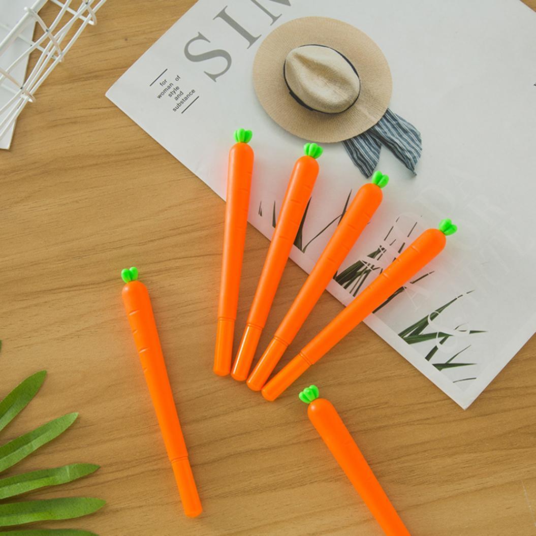 4Pcs Cartoon Carrot Ink Filled Gel Pen School Office Writing Marker Stationery
