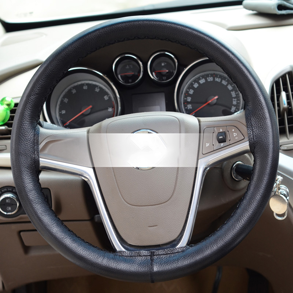 Durable Car Steering Wheel Cover Leather Hand Sewn With Needle Thread 38cm